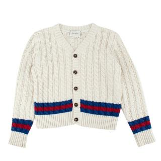 Gucci Kids Cream Cable Knit Web Cardigan