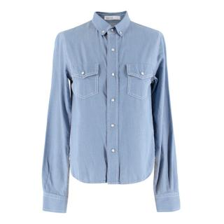 Sacai Luck Denim Blouse With Satin Pleated Detail