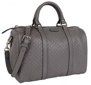 Gucci Grey Guccissima Leather Boston Bag