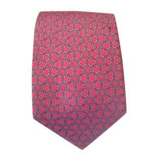 Hermes Red & Grey Silk Printed Tie