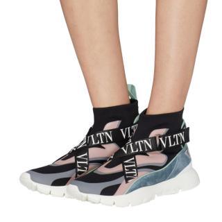 Valentino Garavani Black & Pink Heroes Her Sock Knit Sneakers