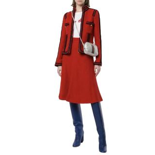 Chanel Paris/Moscow Red Tweed Military Tailored Jacket