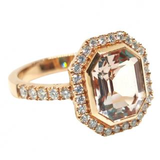 William & Son Diamond & Morganite Rose Gold RIng