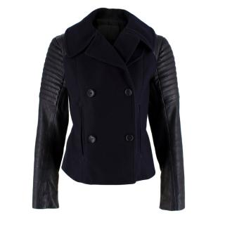A.L.C. Navy Wool Leather Sleeve Single Breasted Jacket