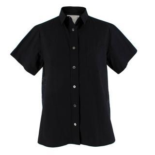 Sacai Black Cotton Shirt with Embroidered Back