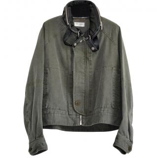 Saint Laurent Khaki Detachable Hooded Jacket