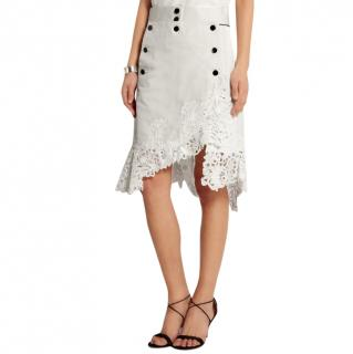 Sacai Guipure lace-trimmed cotton and silk-blend skirt