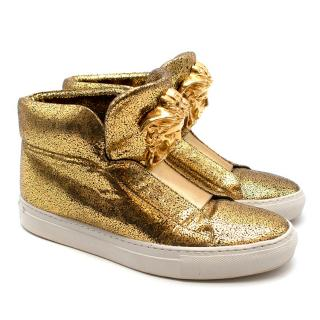 Versace Gold Crackle Leather Medusa High Top Sneakers