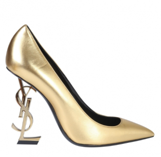 Saint Laurent Opyum Pumps With Gold-toned Heel In Smooth Leather