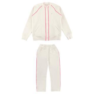 Bonpoint Ecru Woven Pink Trimmed Tracksuit Set