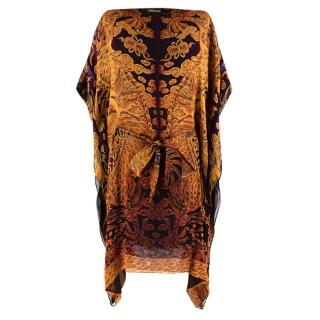 Roberto Cavalli Golden Silk Printed Kaftan Dress