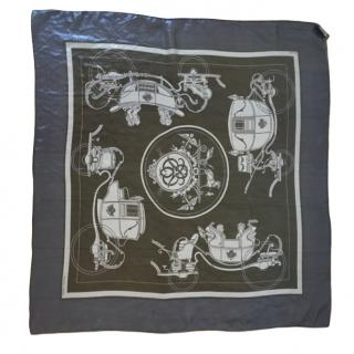 Hermes Metallic Carriage Print Silk Scarf 65