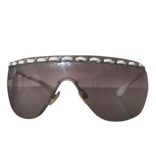 Chanel Black Chain Trim Aviator Sunglasses