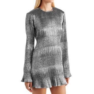 Georgia Alice Silver Metallic Lame Mini Dress