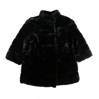 Divine Cashmere Black Rex Rabbit Fur Coat