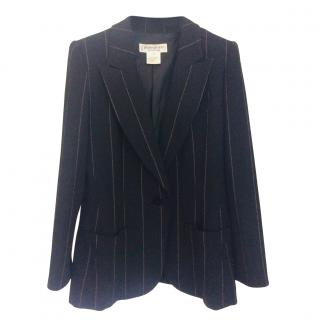 Yves Saint Laurent Black Striped Wool Tailored Jacket