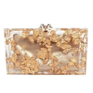 Charlotte Olympia Gold Perspex Glitter Pandora Clutch