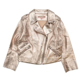 Bonpoint Rose Gold Crackled Lambskin Jacket