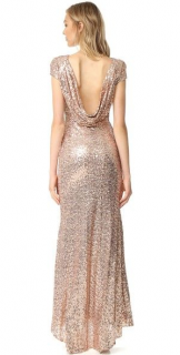 Badgley Mischka Rose Gold Sequin Cowl Back Gown