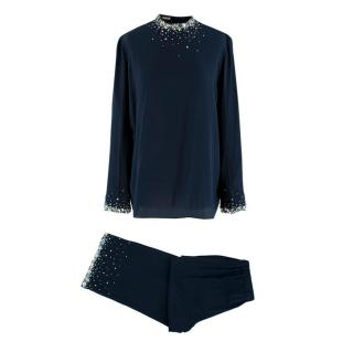 Miu Miu Navy Crepe Silk Embellished Blouse and Trousers
