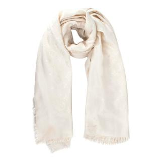 Louis Vuitton Silk & Wool Monogram Cream Scarf