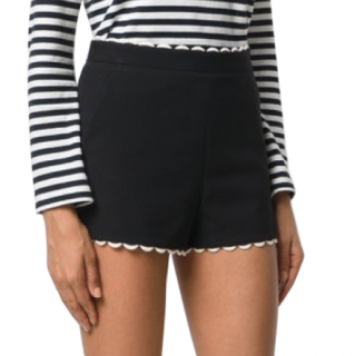 REDValentino Black Scalloped Shorts