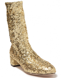 Dolce & Gabbana Gold Sequin Stretch Sock Boots