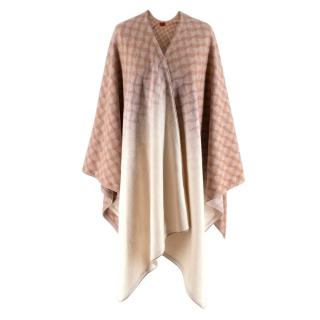 Missoni Pink Wool Blend Geometric Patterned Poncho
