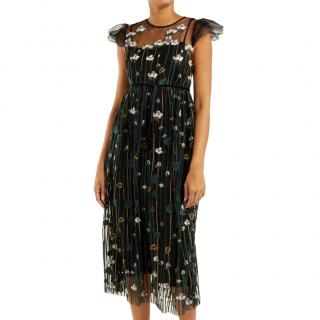 REDValentino Floral Embroidered Sheer Tulle Dress