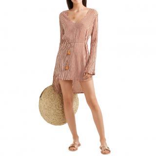 Faithfull The Brand Orange Striped Voile Mini Dress