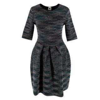 M Missoni Green Striped Knitted A-Line Dress