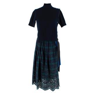 Sacai Knitted Navy Tartan Asymmetric Dress