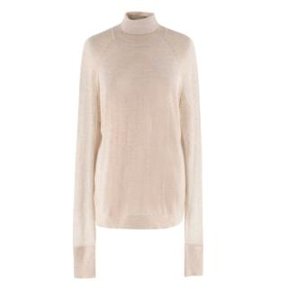 Donna Karan Beige Cashmere Roll Neck Jumper