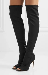 Jimmy Choo Leather Trim Mesh Desai Thigh Boots
