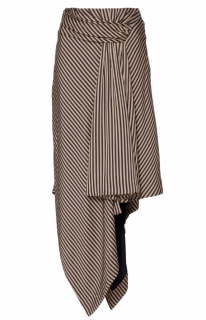 Jonathan Simkhai Striped Twist Front Draped Asymmetric Skirt
