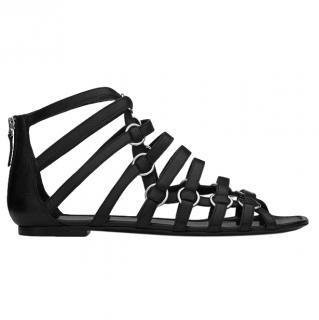 Saint Laurent Nina Black Leather Gladiator Sandals