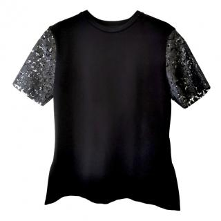 Louis Vuitton Jersey Top with Lace Sleeves