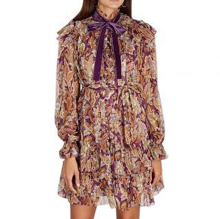 Zimmermann Ladybeetle Ruffled Lurex Printed Silk Mini Dress