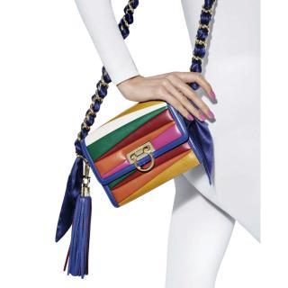 Sara Battaglia x Ferragamo Limited Edition Rainbow Stripe Shoulder Bag