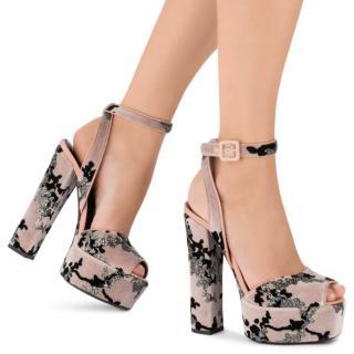 Giuseppe Zanotti Pale Pink Velvet Embroidered Platform Betty Sandals