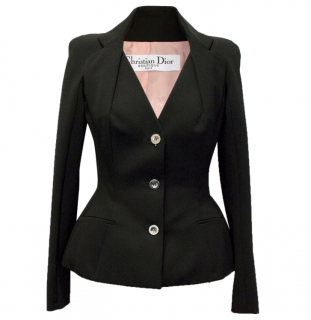 Christian Dior black wool blend blazer with heart print lining