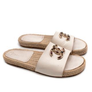 Chanel Cream Leather Jeweled CC Espadrille Sandals