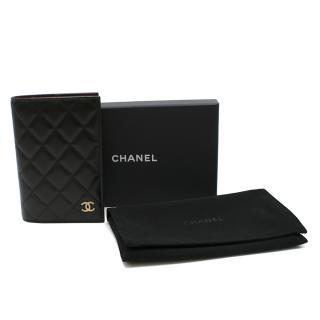 Chanel Black Lambskin Leather & Gold-tone CC Passport Case