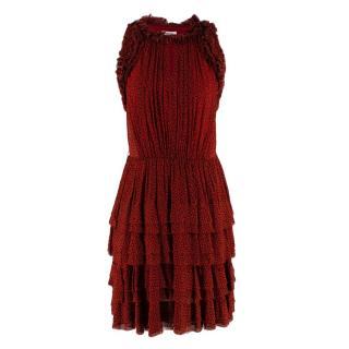 Jason Wu Red & Black Ruffled Printed Mini Dress