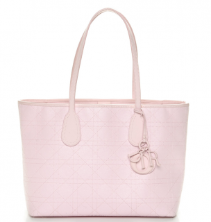 Christian Dior Coated Canvas Pink Cannage Tote Bag