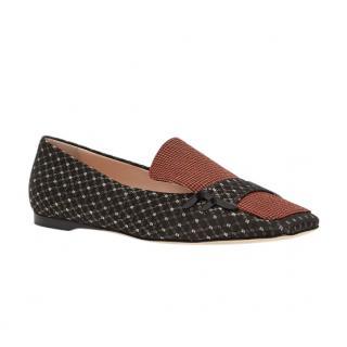 Fendi Jacquard Nubuck Moccasin Loafers