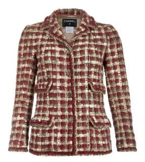 Chanel Red & Beige Metallic Knit Tweed Tailored Jacket