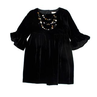 Bonpoint Black Velvet Embellished Dress