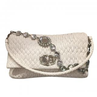 Miu Miu White Matelasse Shoulder Bag with Crystal Shoulder Strap