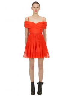 Self Portrait Orange Off Shoulder Mini Dress